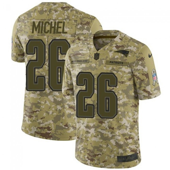 Nike Patriots #26 Sony Michel Camo Men's Stitched NFL Limited 2018 Salute To Service Jersey