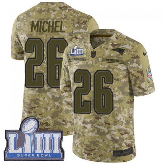 Nike Patriots #26 Sony Michel Camo Super Bowl LIII Bound Men's Stitched NFL Limited 2018 Salute To Service Jersey