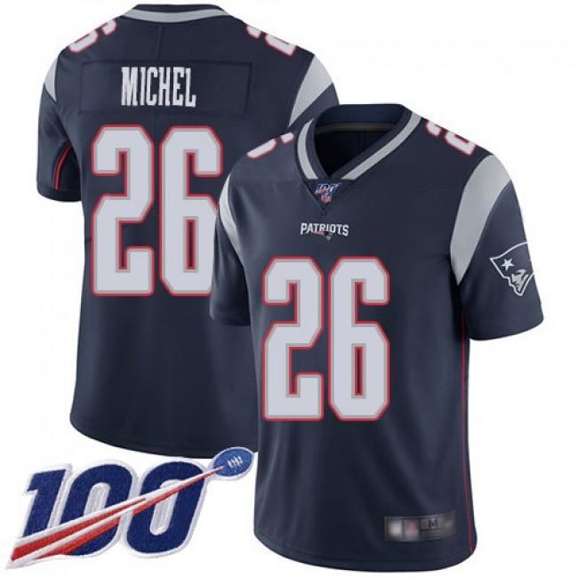Nike Patriots #26 Sony Michel Navy Blue Team Color Men's Stitched NFL 100th Season Vapor Limited Jersey