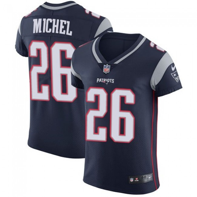 Nike Patriots #26 Sony Michel Navy Blue Team Color Men's Stitched NFL Vapor Untouchable Elite Jersey