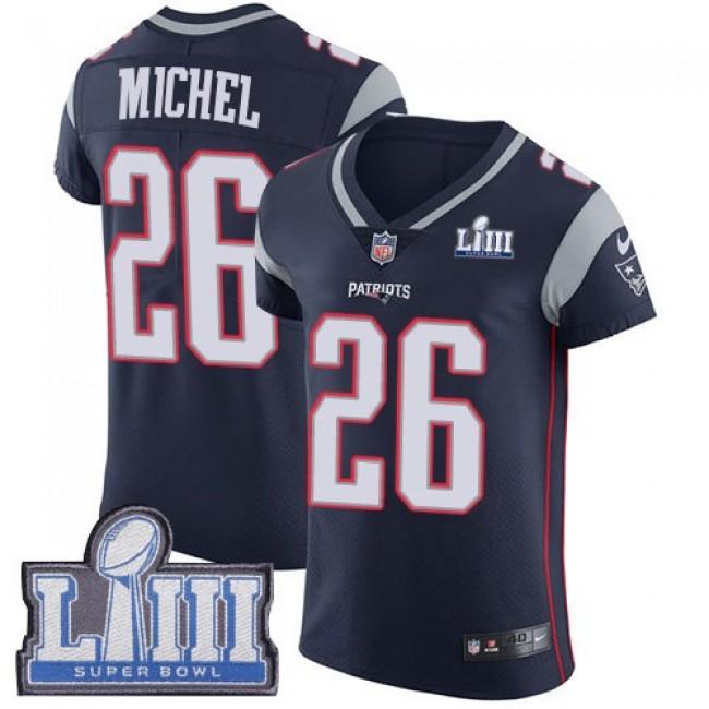 Nike Patriots #26 Sony Michel Navy Blue Team Color Super Bowl LIII Bound Men's Stitched NFL Vapor Untouchable Elite Jersey