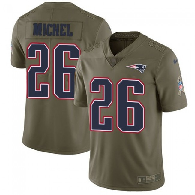 Nike Patriots #26 Sony Michel Olive Men's Stitched NFL Limited 2017 Salute To Service Jersey