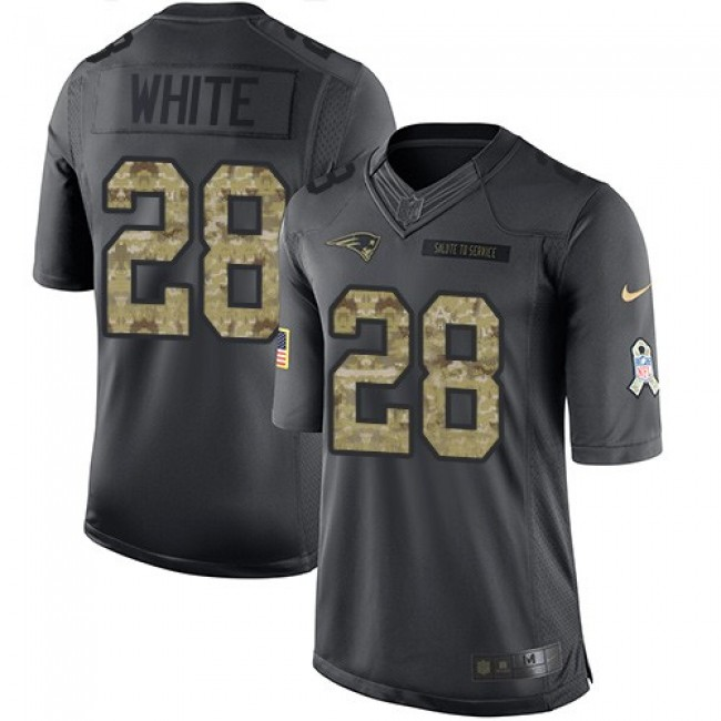 New England Patriots #28 James White Black Youth Stitched NFL Limited 2016 Salute to Service Jersey