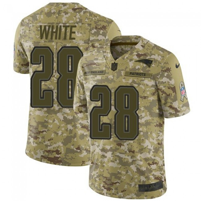 Nike Patriots #28 James White Camo Men's Stitched NFL Limited 2018 Salute To Service Jersey