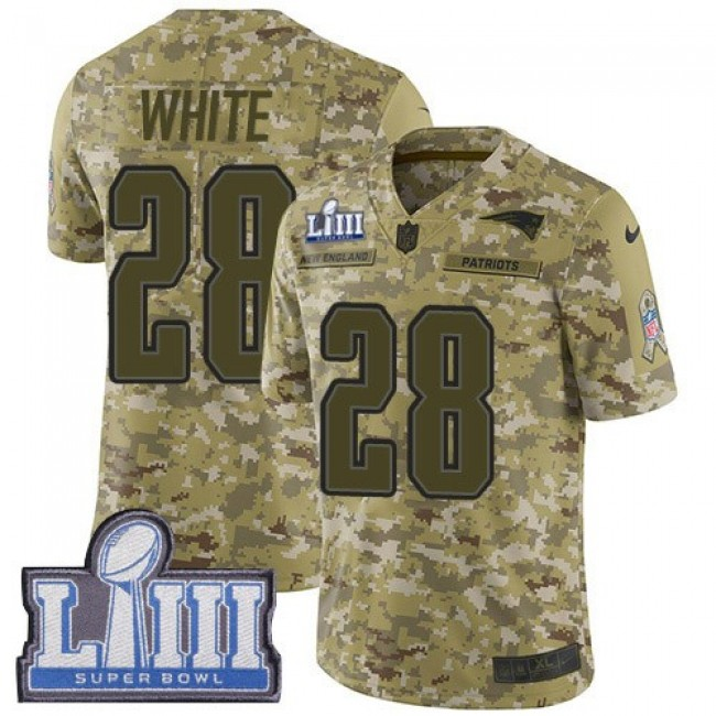 Nike Patriots #28 James White Camo Super Bowl LIII Bound Men's Stitched NFL Limited 2018 Salute To Service Jersey
