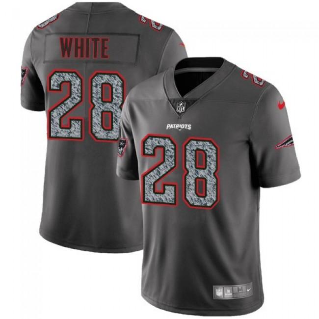 Nike Patriots #28 James White Gray Static Men's Stitched NFL Vapor Untouchable Limited Jersey