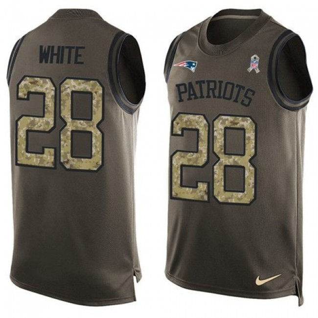 Nike Patriots #28 James White Green Men's Stitched NFL Limited Salute To Service Tank Top Jersey