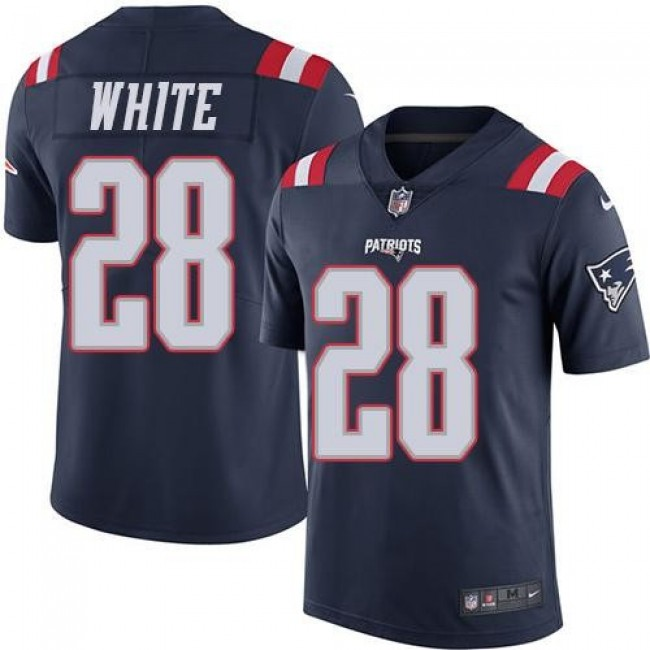 Nike Patriots #28 James White Navy Blue Men's Stitched NFL Limited Rush Jersey