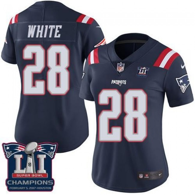 Women's Patriots #28 James White Navy Blue Super Bowl LI Champions Stitched NFL Limited Rush Jersey