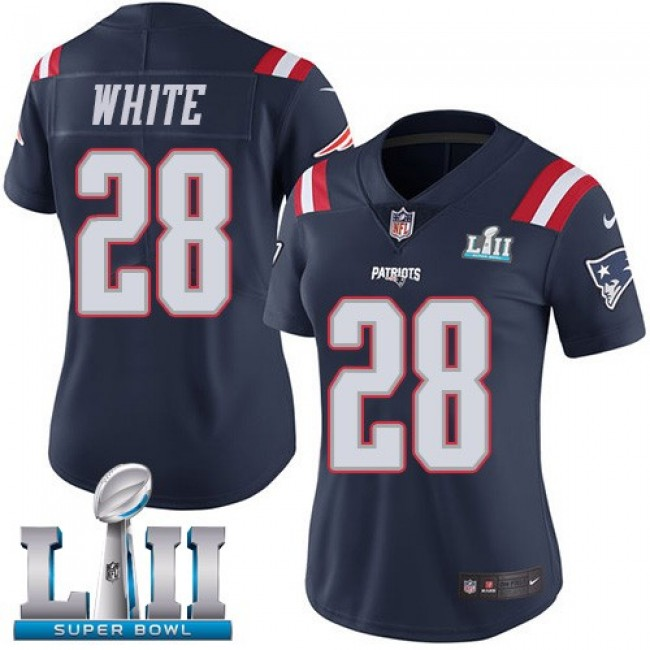 Women's Patriots #28 James White Navy Blue Super Bowl LII Stitched NFL Limited Rush Jersey