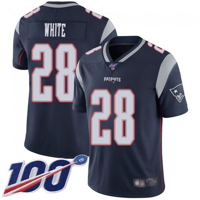Nike Patriots #28 James White Navy Blue Team Color Men's Stitched NFL 100th Season Vapor Limited Jersey
