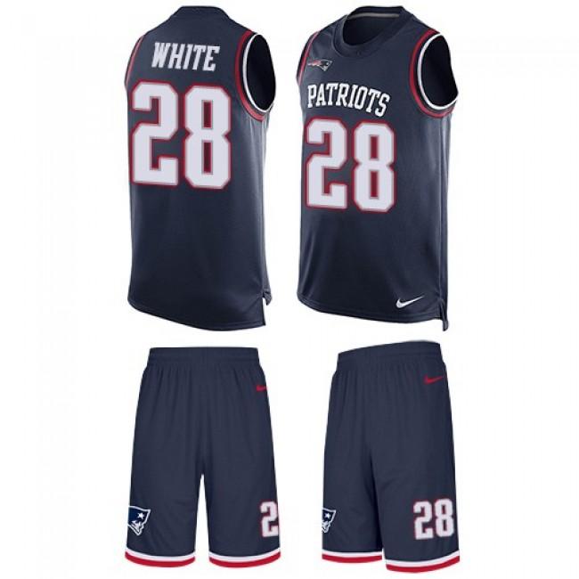 Nike Patriots #28 James White Navy Blue Team Color Men's Stitched NFL Limited Tank Top Suit Jersey