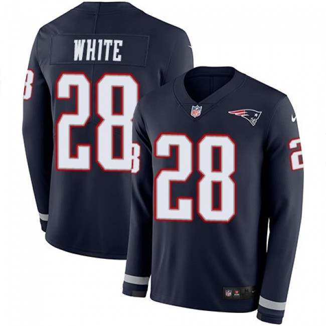 Nike Patriots #28 James White Navy Blue Team Color Men's Stitched NFL Limited Therma Long Sleeve Jersey