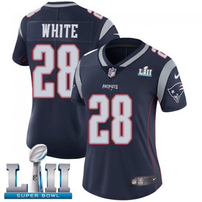 Women's Patriots #28 James White Navy Blue Team Color Super Bowl LII Stitched NFL Vapor Untouchable Limited Jersey