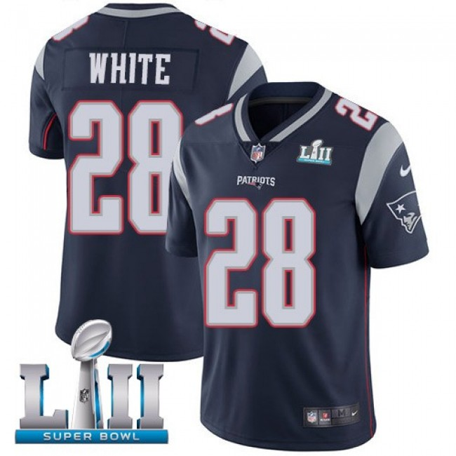 New England Patriots #28 James White Navy Blue Team Color Super Bowl LII Youth Stitched NFL Vapor Untouchable Limited Jersey