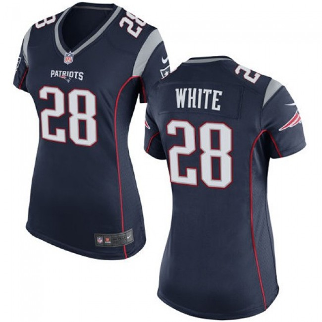 Women's Patriots #28 James White Navy Blue Team Color Stitched NFL New Elite Jersey