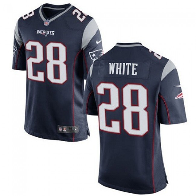 New England Patriots #28 James White Navy Blue Team Color Youth Stitched NFL New Elite Jersey