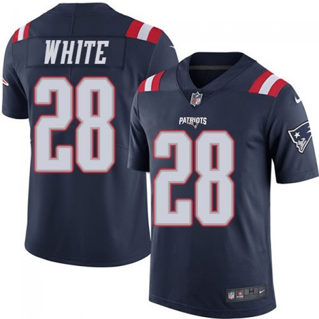 New England Patriots #28 James White Navy Blue Youth Stitched NFL Limited Rush Jersey