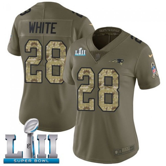 Women's Patriots #28 James White Olive Camo Super Bowl LII Stitched NFL Limited 2017 Salute to Service Jersey