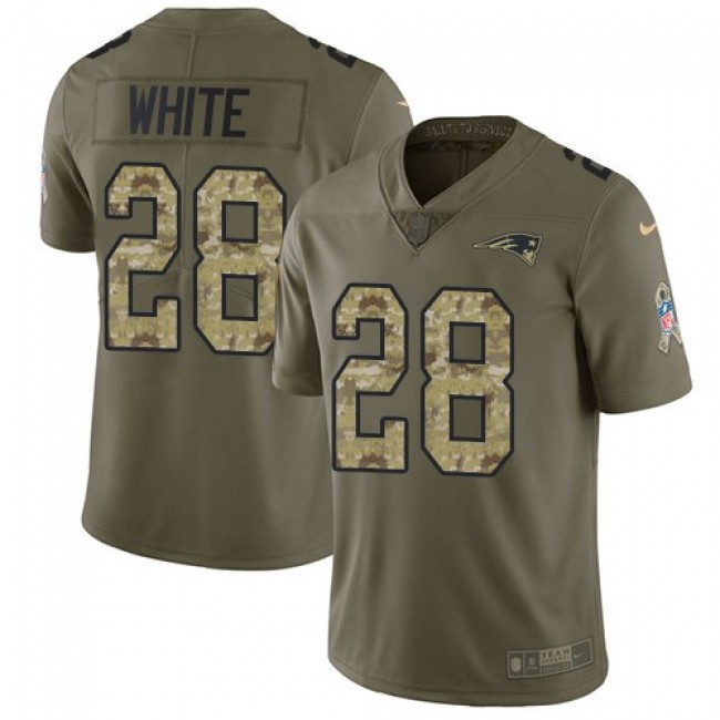 New England Patriots #28 James White Olive-Camo Youth Stitched NFL Limited 2017 Salute to Service Jersey