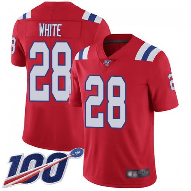 Nike Patriots #28 James White Red Alternate Men's Stitched NFL 100th Season Vapor Limited Jersey