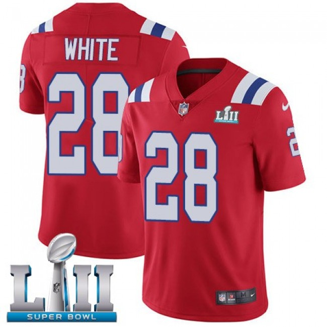 New England Patriots #28 James White Red Alternate Super Bowl LII Youth Stitched NFL Vapor Untouchable Limited Jersey