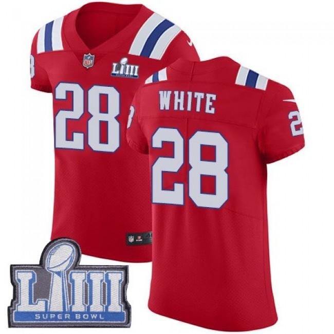 Nike Patriots #28 James White Red Alternate Super Bowl LIII Bound Men's Stitched NFL Vapor Untouchable Elite Jersey