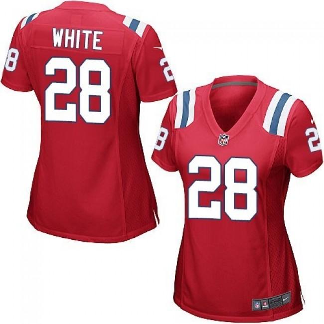 Women's Patriots #28 James White Red Alternate Stitched NFL Elite Jersey