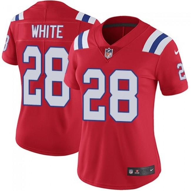 Women's Patriots #28 James White Red Alternate Stitched NFL Vapor Untouchable Limited Jersey
