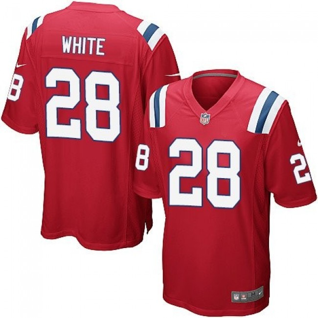 New England Patriots #28 James White Red Alternate Youth Stitched NFL Elite Jersey