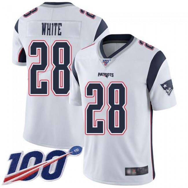 Nike Patriots #28 James White White Men's Stitched NFL 100th Season Vapor Limited Jersey