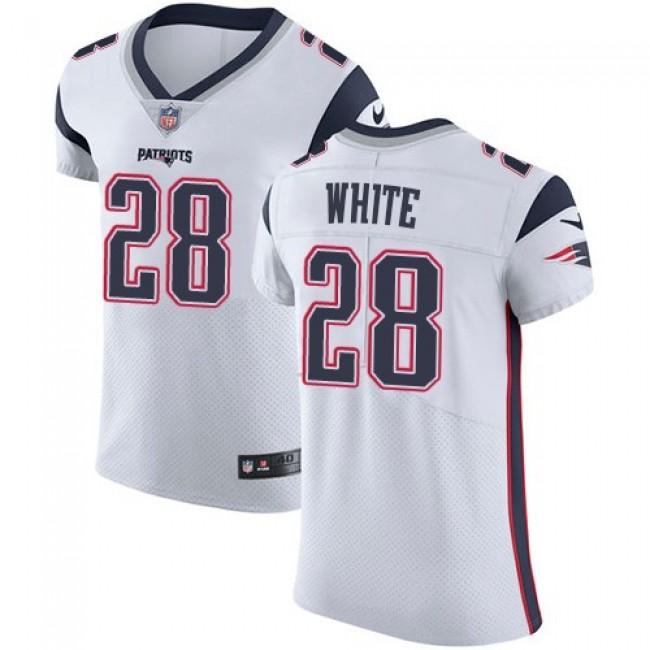 Nike Patriots #28 James White White Men's Stitched NFL Vapor Untouchable Elite Jersey