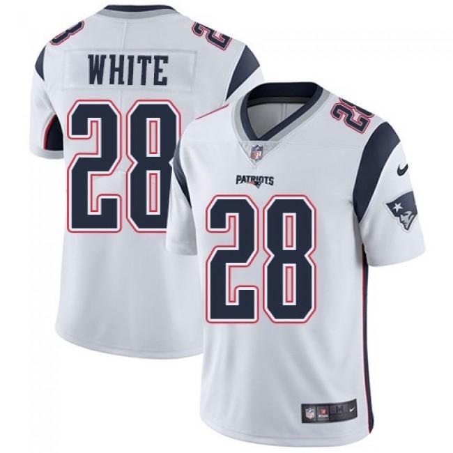 Nike Patriots #28 James White White Men's Stitched NFL Vapor Untouchable Limited Jersey