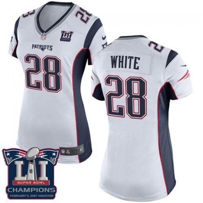 Women's Patriots #28 James White White Super Bowl LI Champions Stitched NFL New Elite Jersey