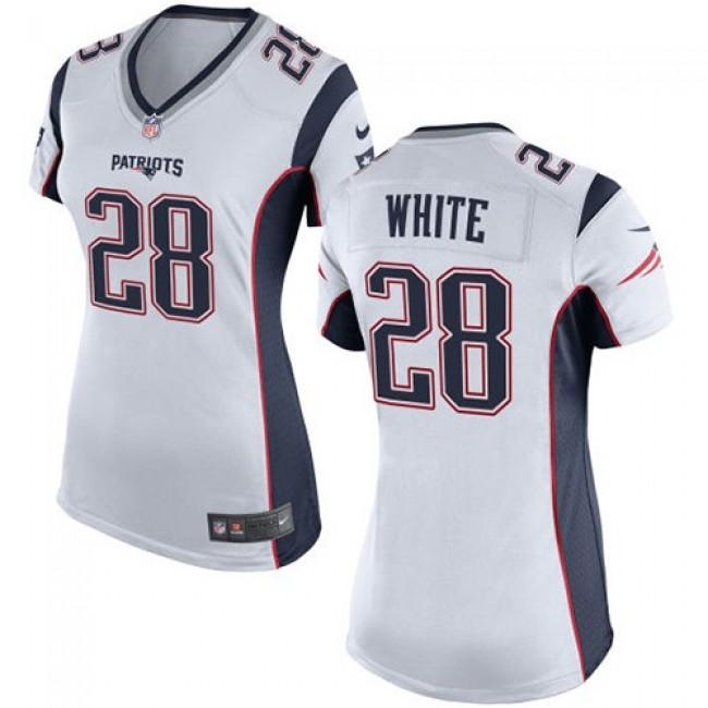 Women's Patriots #28 James White White Stitched NFL New Elite Jersey