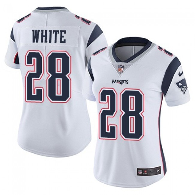 Women's Patriots #28 James White White Stitched NFL Vapor Untouchable Limited Jersey
