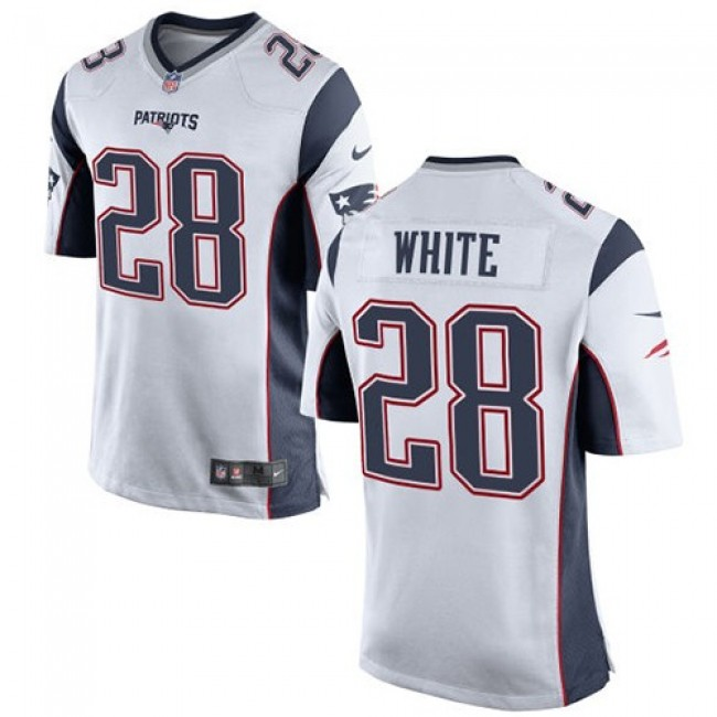 New England Patriots #28 James White White Youth Stitched NFL New Elite Jersey