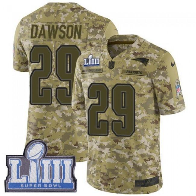 Nike Patriots #29 Duke Dawson Camo Super Bowl LIII Bound Men's Stitched NFL Limited 2018 Salute To Service Jersey