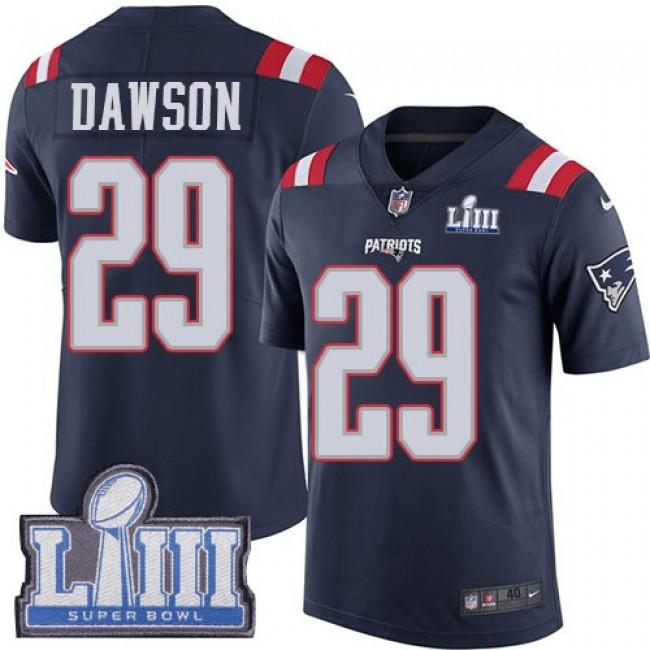 Nike Patriots #29 Duke Dawson Navy Blue Super Bowl LIII Bound Men's Stitched NFL Limited Rush Jersey