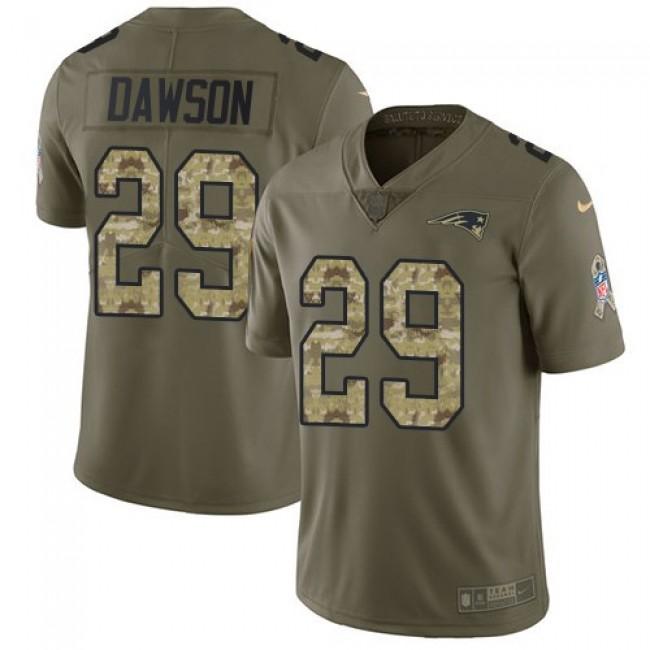 Nike Patriots #29 Duke Dawson Olive/Camo Men's Stitched NFL Limited 2017 Salute To Service Jersey
