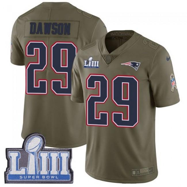 Nike Patriots #29 Duke Dawson Olive Super Bowl LIII Bound Men's Stitched NFL Limited 2017 Salute To Service Jersey
