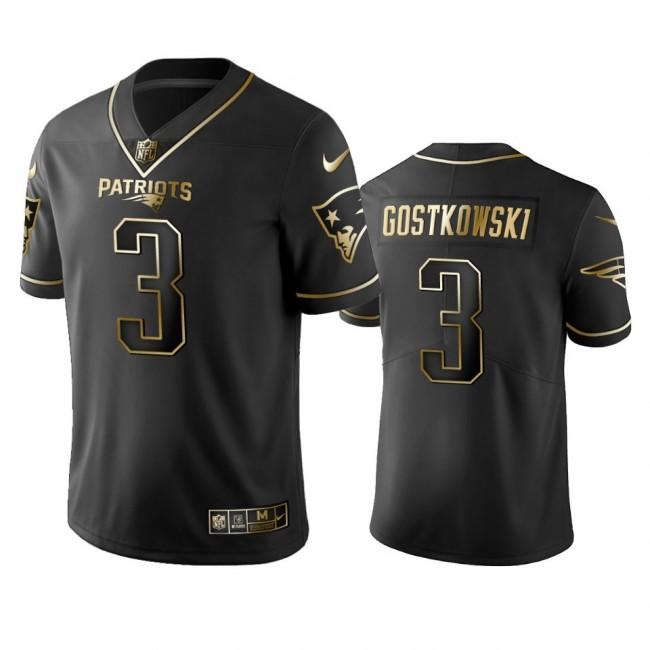 Nike Patriots #3 Stephen Gostkowski Black Golden Limited Edition Stitched NFL Jersey