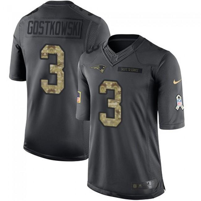 Nike Patriots #3 Stephen Gostkowski Black Men's Stitched NFL Limited 2016 Salute To Service Jersey