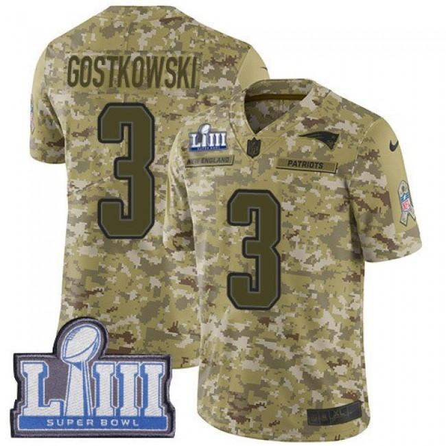 Nike Patriots #3 Stephen Gostkowski Camo Super Bowl LIII Bound Men's Stitched NFL Limited 2018 Salute To Service Jersey