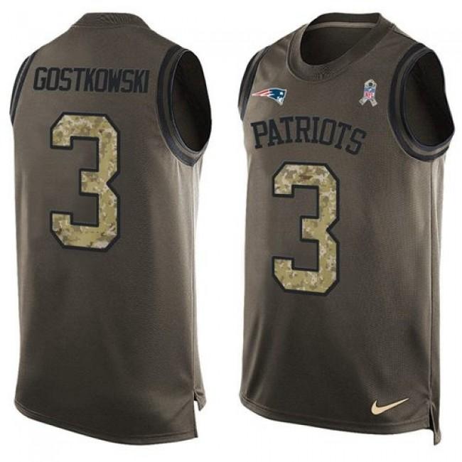 Nike Patriots #3 Stephen Gostkowski Green Men's Stitched NFL Limited Salute To Service Tank Top Jersey