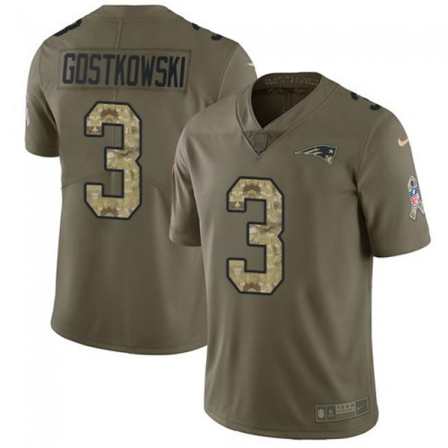 Nike Patriots #3 Stephen Gostkowski Olive/Camo Men's Stitched NFL Limited 2017 Salute To Service Jersey