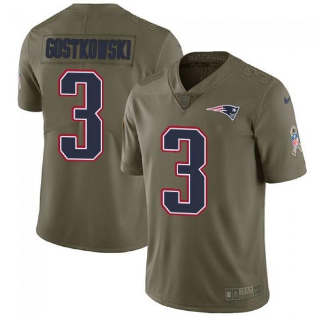 Nike Patriots #3 Stephen Gostkowski Olive Men's Stitched NFL Limited 2017 Salute To Service Jersey
