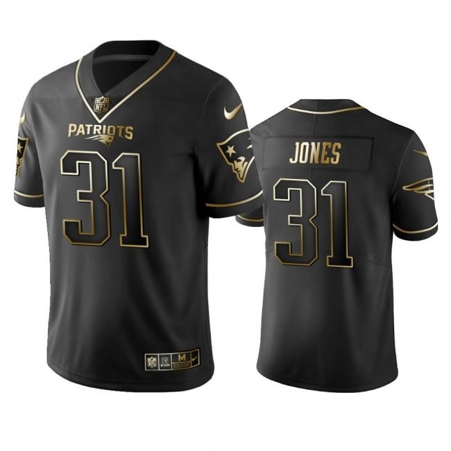 Nike Patriots #31 Jonathan Jones Black Golden Limited Edition Stitched NFL Jersey