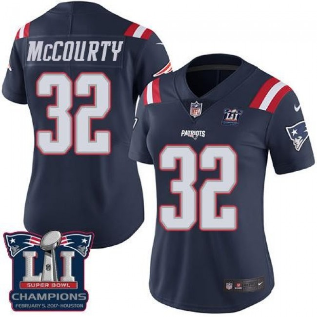 Women's Patriots #32 Devin McCourty Navy Blue Super Bowl LI Champions Stitched NFL Limited Rush Jersey