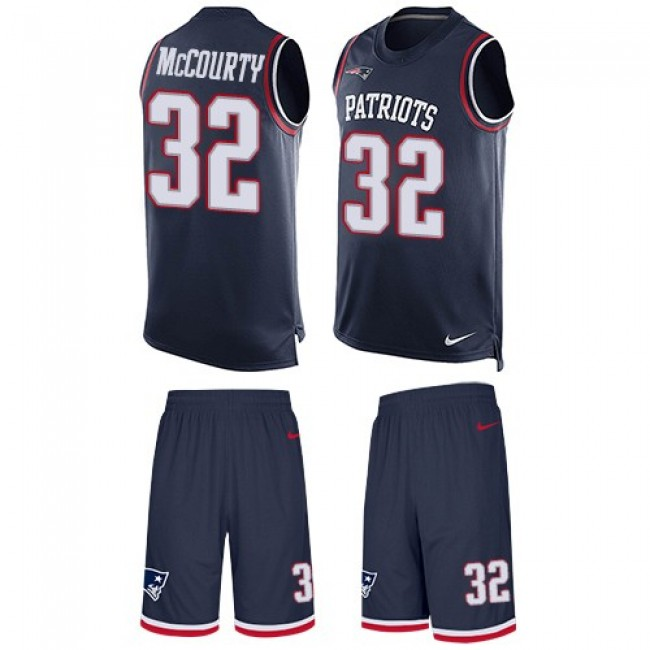 Nike Patriots #32 Devin McCourty Navy Blue Team Color Men's Stitched NFL Limited Tank Top Suit Jersey